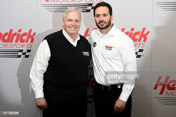 Rick Hendrick owner of Hendrick Motorsports and Jimmie Johnson driver of the Lowe's/Kobalt Tools Chevrolet pose for a photo during the 2012 NASCAR...
