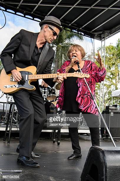Rick Holstrum and Mavis Staples perform on stage at Mizner Park Amphitheater on January 15 2017 in Boca Raton Florida