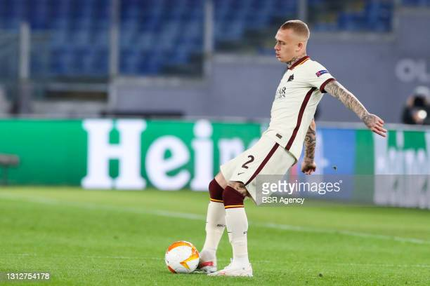 Rick Karsdorp of AS Roma during the UEFA Europa League Quarter Final: Leg Two match between AS Roma and Ajax at Stadio Olimpico on April 15, 2021 in...