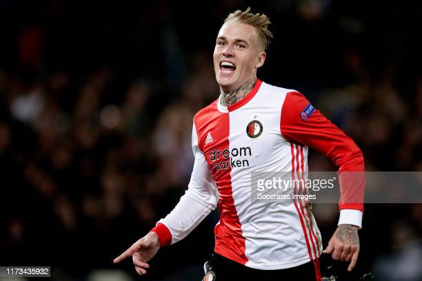 Rick Karsdorp of Feyenoord celebrates 2-0 during the UEFA Europa League match between Feyenoord v FC Porto at the Stadium Feijenoord on October 3,...