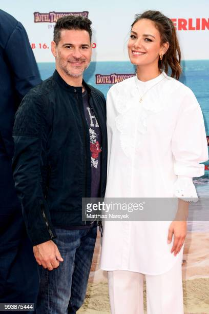 Rick Kavanian and Janina Uhse attend the 'Hotel Transsilvanien 3' premiere at CineStar on July 8 2018 in Berlin Germany