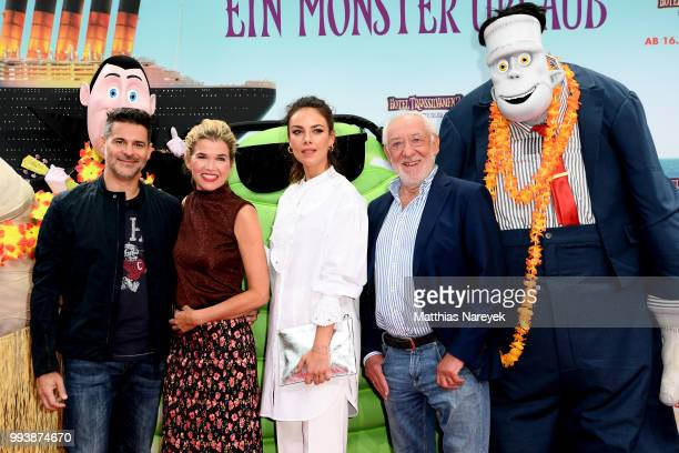 Rick Kavanian Anke Engelke Janina Uhse and Dieter Hallervorden attend the 'Hotel Transsilvanien 3' premiere at CineStar on July 8 2018 in Berlin...