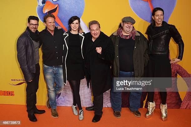 Rick Kavanian Christian Tramitz Nora Tschirner Oliver Kalkofe Sante de Santis and Jorge Gonzalez attend 'Free Birds' Premiere at Kino in der...