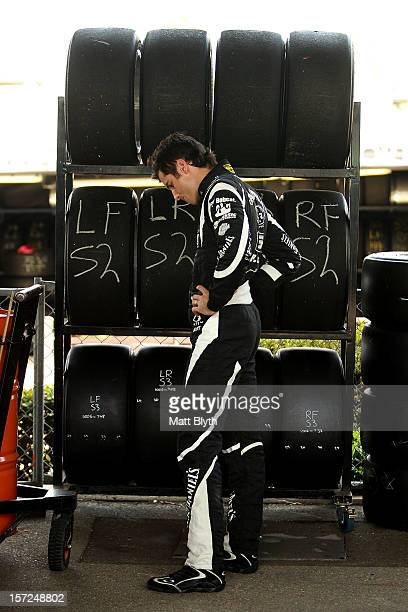 Rick Kelly driver of the Jack Daniel's Racing Holden prepares to take part in the Top Ten Shootout for the Sydney 500 which is round 15 of the V8...