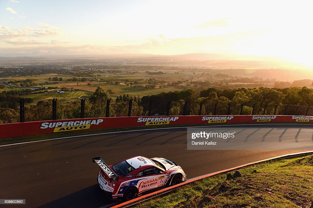Rick Kelly drives the #1 Nismo Athlete Global Team Nissan GT-R Nismo GT3 during the Bathurst 12 Hour Race at Mount Panorama on February 7, 2016 in Bathurst, Australia.