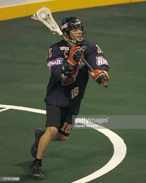 Rick Kilgour of the Bandits readies a pass during game action at the Sears Centre Hoffman Estates IL where the Buffalo Bandits defeated the Chicago...