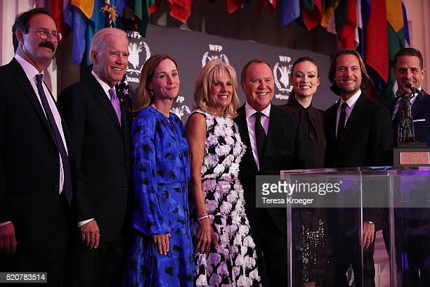 Rick Leach US Vice President Joe Biden Kathleen Biden Dr Jill Biden honoree Michael Kors Olivia Wilde Lance Le Pere and Hunter Biden attend the World...