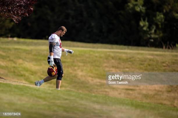 Rick Leonard of the Washington Football Team walks to mandatory minicamp at Inova Sports Performance Center on June 10, 2021 in Ashburn, Virginia.