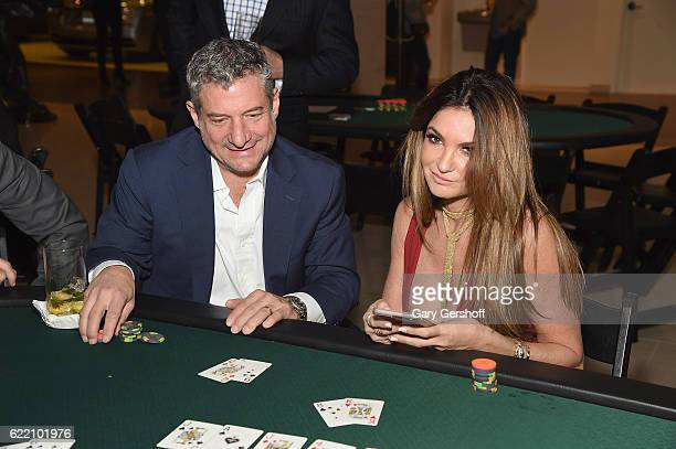 Rick Leventhal and professional poker player Beth Shak Leventhal attend Carbon Poker hosted by Manhattan Motor Cars Chelsea on November 9 2016 in New...