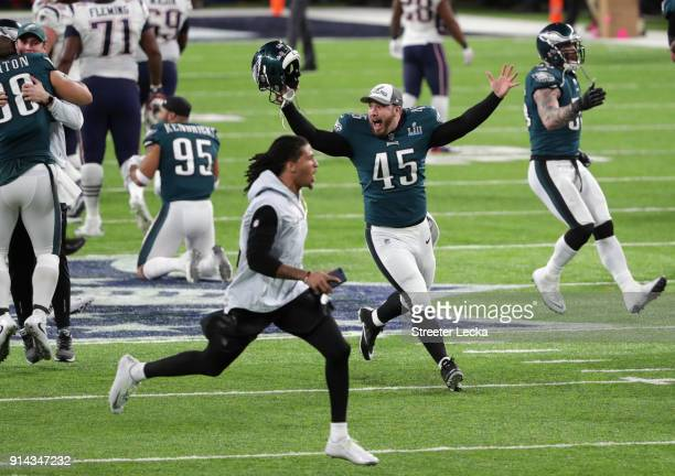 Rick Lovato of the Philadelphia Eagles runs on the field after defeating the New England Patriots in Super Bowl LII at US Bank Stadium on February 4...