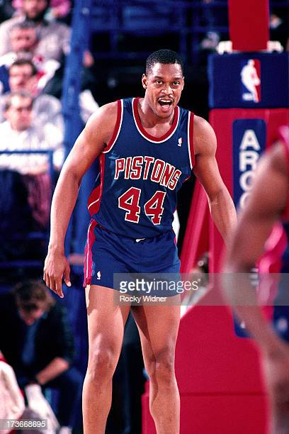 Rick Mahorn of the Detroit Pistons gets into position against the Sacramento Kings during a game played on February 23 1988 at Arco Arena in...
