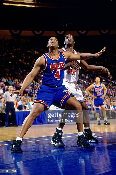 Rick Mahorn of the New Jersey Nets boxes out against Anthony Mason of the New York Knicks in Game Two of the Eastern Conference Quarterfinals during...