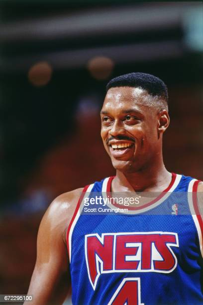 Rick Mahorn of the New Jersey Nets looks on against the Atlanta Hawks during a game played circa 1990 at the Omni in Atlanta Georgia NOTE TO USER...