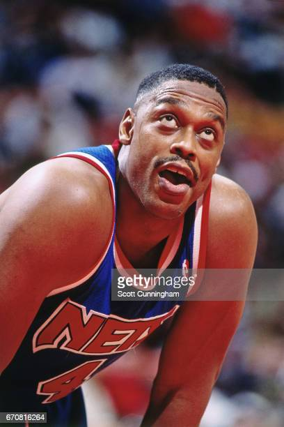 Rick Mahorn of the New Jersey Nets rests against the Atlanta Hawks during a game played circa 1990 at the Omni in Atlanta Georgia NOTE TO USER User...