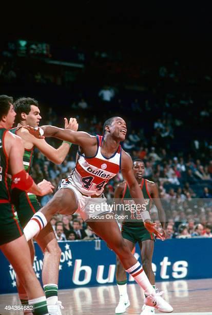 Rick Mahorn of the Washington Bullets battles for position against the Milwaukee Bucks during an NBA basketball game circa 1984 at the Capital Centre...