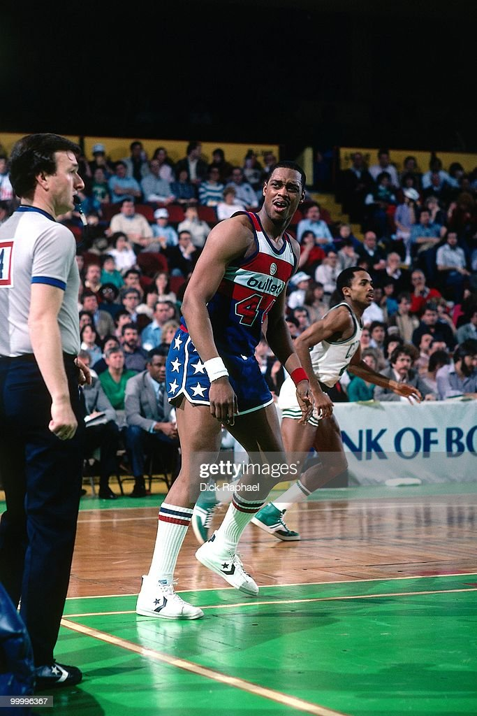 Rick Mahorn #44 of the Washington Bullets reacts to a call againt the Boston Celtics during a game played in 1983 at the Boston Garden in Boston, Massachusetts.