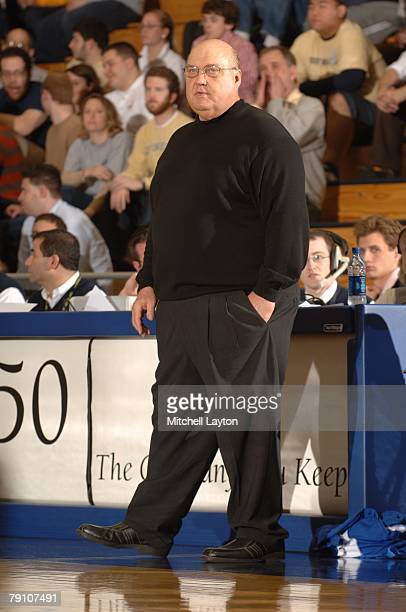 Rick Majerus head coach of the St Louis Billikens looks on during a basketball game against the George Washington Colonials at Smith Center on...