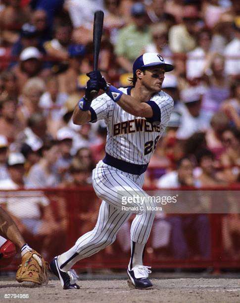 Rick Manning of the Milwaukee Brewers hits a home run during a game against the Chicago White Sox on July 24 1983 in Milwaukee Wisconsin