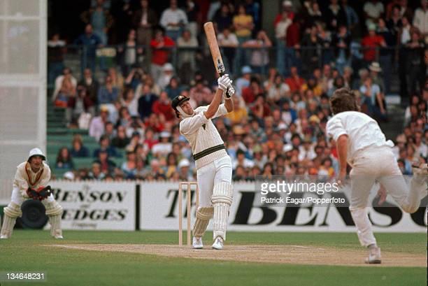 Rick McCosker batting with a broken jaw hits Bob Willis Australia v England Centenary Test Melbourne Mar 197677