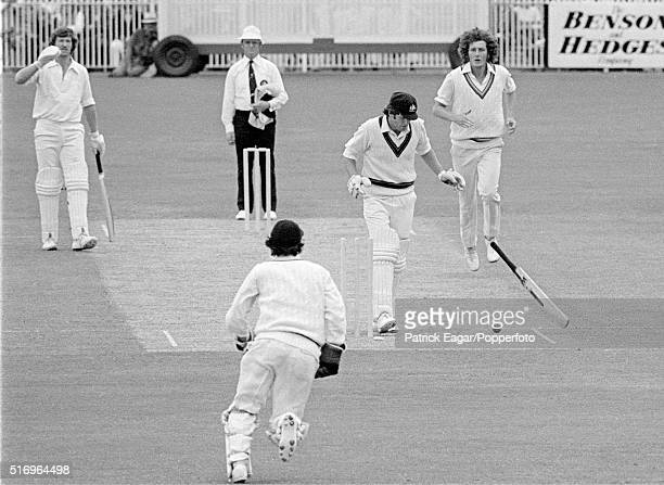 Rick McCosker of Australia is bowled after a ball from Bob Willis of England hit and broke his jaw and deflected onto the wicket during the Centenary...