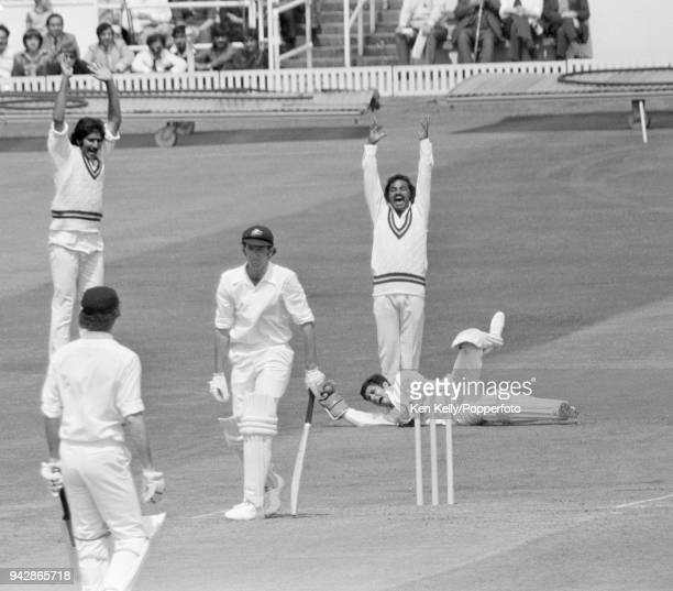 Rick McCosker of Australia is caught behind for 25 runs by Pakistan wicketkeeper Wasim Bari during the Prudential World Cup match between Australia...