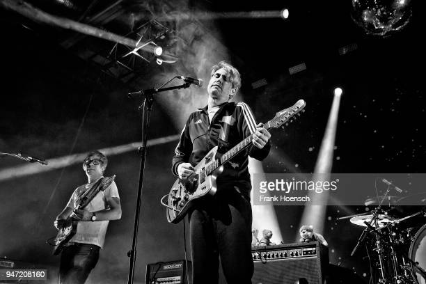 Rick McPhail and Dirk von Lowtzow of the German band Tocotronic perform live on stage during a concert at the Columbiahalle on April 16 2018 in...