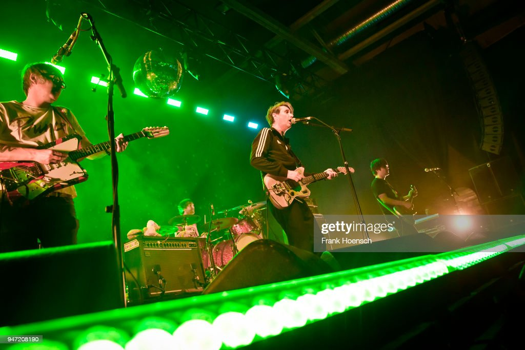 Rick McPhail, Arne Zank, Dirk von Lowtzow and Jan Mueller of the German band Tocotronic perform live on stage during a concert at the Columbiahalle on April 16, 2018 in Berlin, Germany.