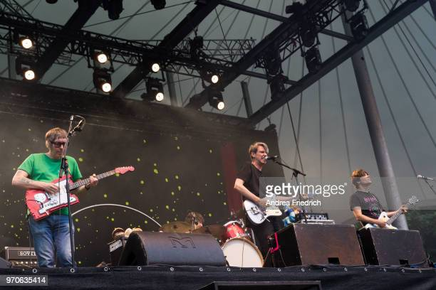 Rick McPhail Dirk von Lowtzow and Jan Muller of German band Tocotronic perform live on stage in support of Beatsteaks during a concert at Waldbuehne...
