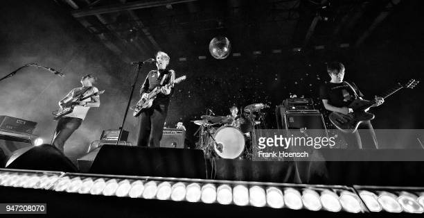 Rick McPhail Dirk von Lowtzow Arne Zank and Jan Mueller of the German band Tocotronic perform live on stage during a concert at the Columbiahalle on...