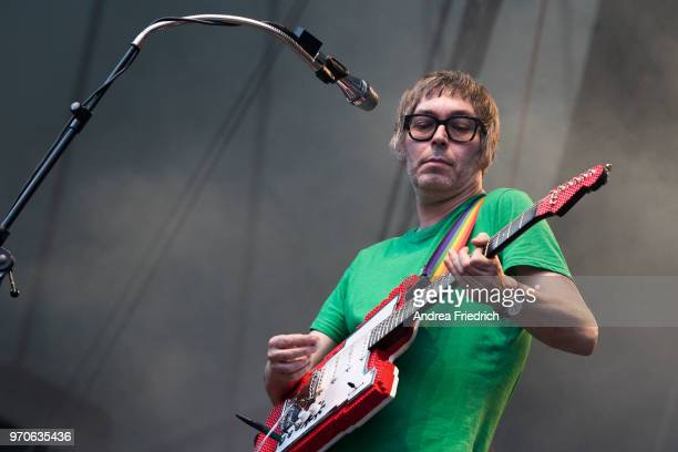 Rick McPhail of German band Tocotronic performs live on stage in support of Beatsteaks during a concert at Waldbuehne Berlin on June 9 2018 in Berlin...