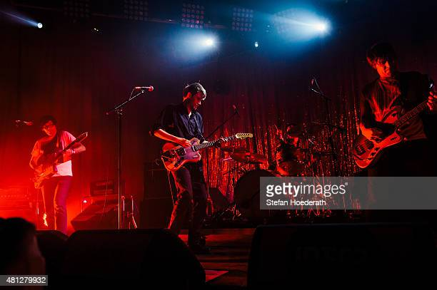 Rick McPhail, singer Dirk von Lowtzow and Jan Mueller of Tocotronic perform live on stage during day 2 of Melt! Festival on July 18, 2015 in...
