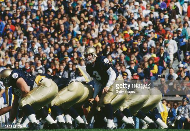 Rick Mirer, Quarterback for the University of Notre Dame Fighting Irish calls the play on the line of scrimmage during the NCAA Big East Conference...