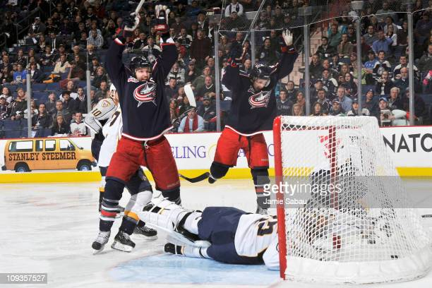 Rick Nash and Antoine Vermette both of the Columbus Blue Jackets celebrate after Nash scored the game winning goal against the Nashville Predators...
