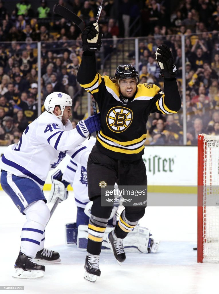Rick Nash #61 of the Boston Bruins celebrates after scoring against the Toronto Maple Leafs during the first period of Game Two of the Eastern Conference First Round during the 2018 NHL Stanley Cup Playoffs at TD Garden on April 14, 2018 in Boston, Massachusetts.