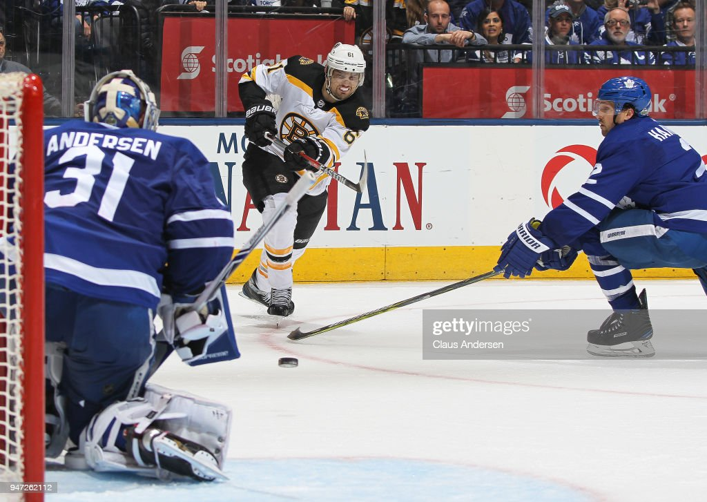 Rick Nash #61 of the Boston Bruins fires a shot against goalie Frederik Andersen #31 of the Toronto Maple Leafs in Game Three of the Eastern Conference First Round during the 2018 Stanley Cup Play-offs at the Air Canada Centre on April 16, 2018 in Toronto, Ontario, Canada. The Maple Leafs defeated the Bruins 4-2.