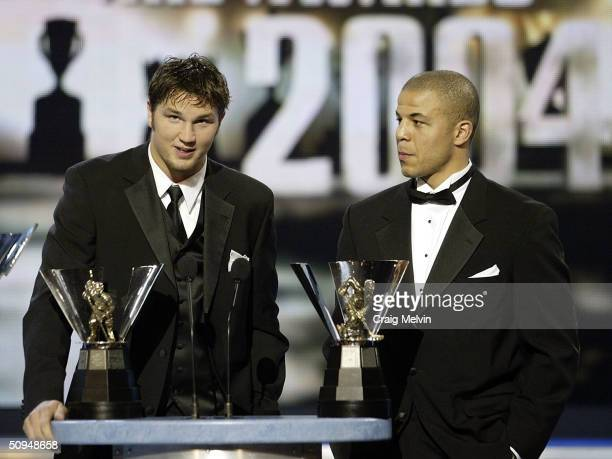 Rick Nash of the Columbus Blue Jackets and Jarome Iginla of the Calgary Flames winners of the Maurice Richard Trophy, awarded annually to the player...