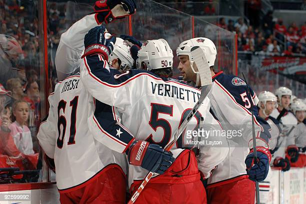 Rick Nash of the Columbus Blue Jackets celebrate their first goal during a NHL hockey game against the Washington Capitals on November 1, 2009 at the...