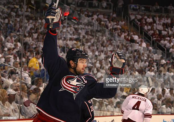Rick Nash of the Columbus Blue Jackets celebrates after scoring a first period goal against the Phoenix Coyotes during the NHL game at Jobing.com...