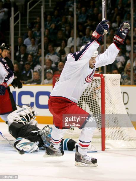 Rick Nash of the Columbus Blue Jackets celebrates after scoring on goalie Evgeni Nabokov of the San Jose Sharks in the first period of their game at...