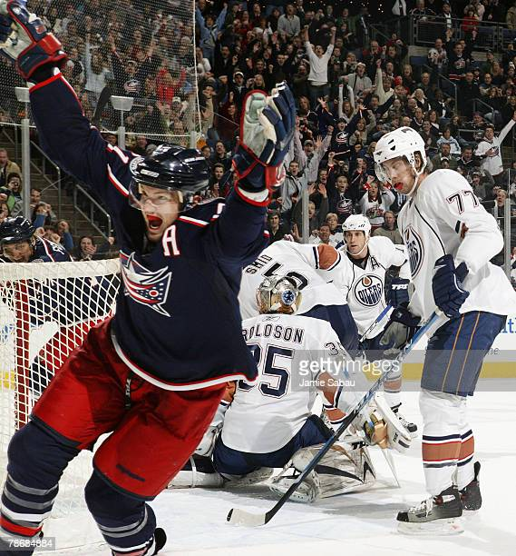 Rick Nash of the Columbus Blue Jackets celebrates his second of three goals against the Edmonton Oilers on December 31, 2007 at Nationwide Arena in...