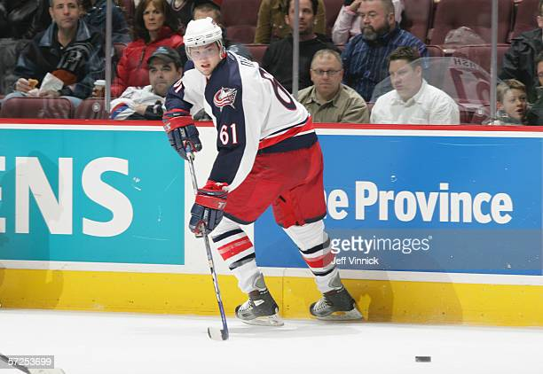Rick Nash of the Columbus Blue Jackets plays the puck during their NHL game against the Vancouver Canucks on February 6, 2006 at General Motors Place...