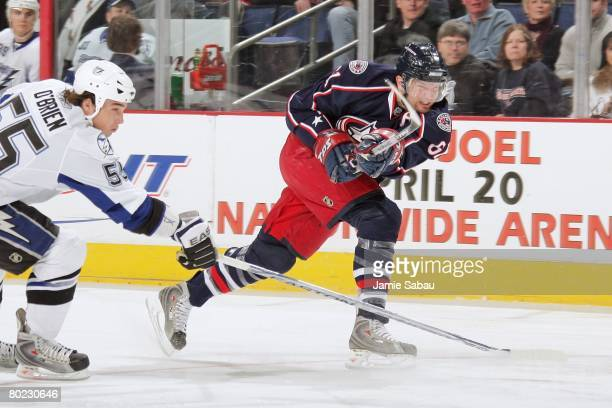 Rick Nash of the Columbus Blue Jackets shoots the puck against the Tampa Bay Lightning on March 9, 2008 at Nationwide Arena in Columbus, Ohio.