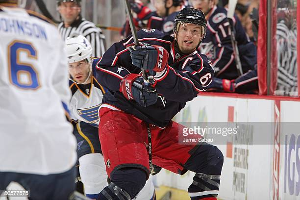 Rick Nash of the Columbus Blue Jackets shoots the puck up ice against the St Louis Blues on April 6 2008 at Nationwide Arena in Columbus Ohio