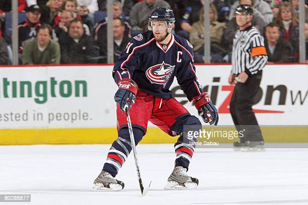 Rick Nash of the Columbus Blue Jackets skates in to position defensively against the Detroit Red Wings on March 16, 2008 at Nationwide Arena in...