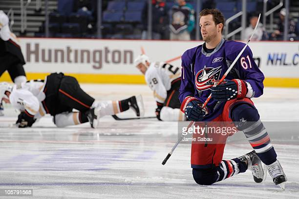 Rick Nash of the Columbus Blue Jackets stretches prior to the start of their game against the Anaheim Ducks on October 20, 2010 at Nationwide Arena...