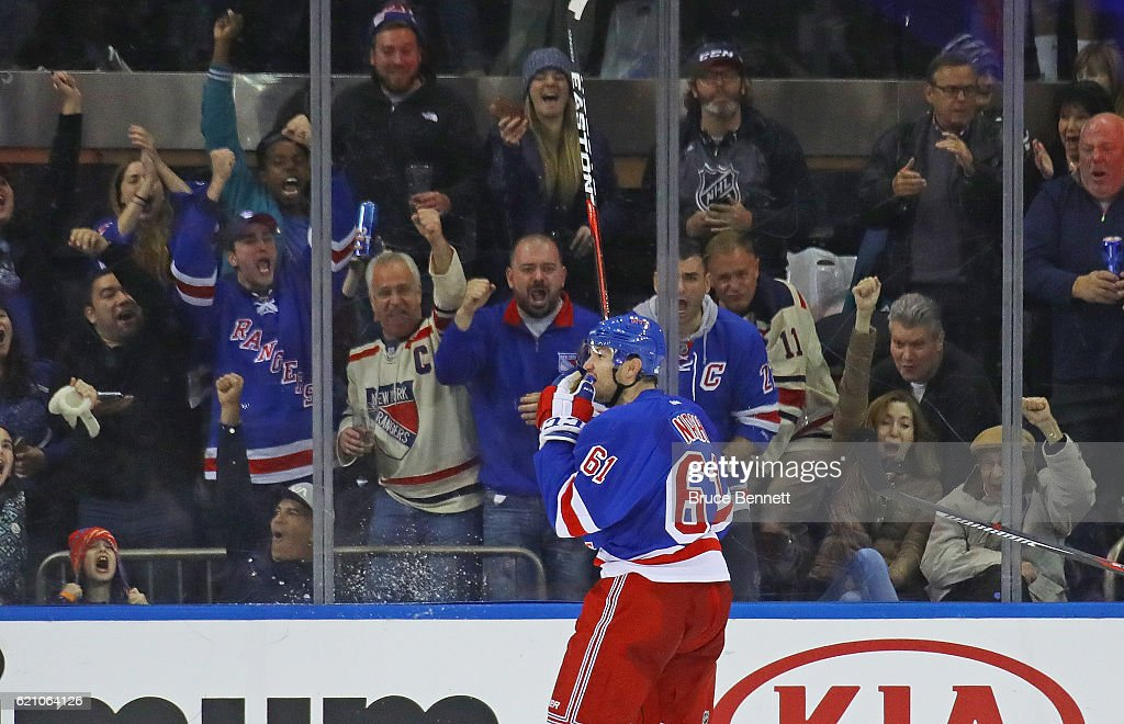Rick Nash #61 of the New York Rangers celebrates his game winning goal at 18:39 of the third period against Cam Talbot #33 of the Edmonton Oilers at Madison Square Garden on November 3, 2016 in New York City. The Rangers defeated the Oilers 5-3.