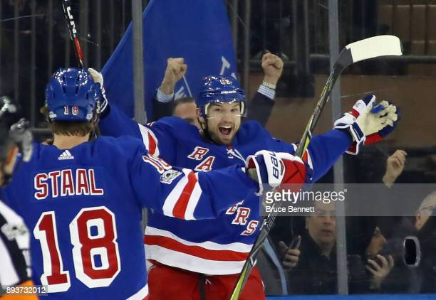 Rick Nash of the New York Rangers celebrates his game winning goal at 1633 of the third period against the Los Angeles Kings at Madison Square Garden...