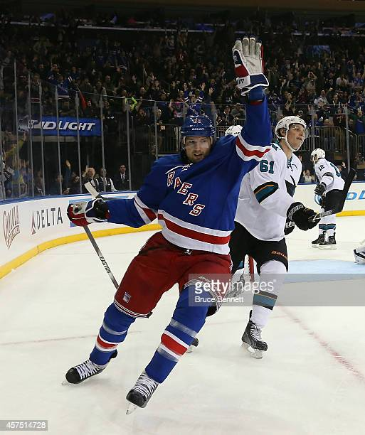 Rick Nash of the New York Rangers celebrates his goal at 19:20 of the second period against the San Jose Sharks at Madison Square Garden on October...