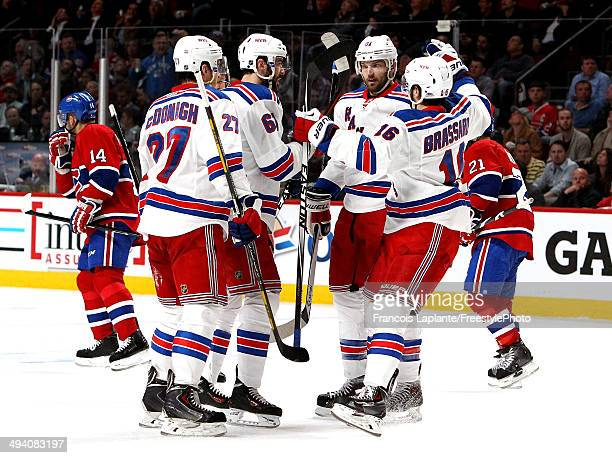 Rick Nash of the New York Rangers celebrates his second period goal at 948 against the Montreal Canadiens during Game Five of the Eastern Conference...