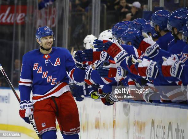 Rick Nash of the New York Rangers celebrates his shootout goal against the Vancouver Canucks at Madison Square Garden on November 26 2017 in New York...